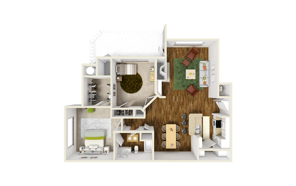 Abernathy 2 Bed 1 Bath Floorplan