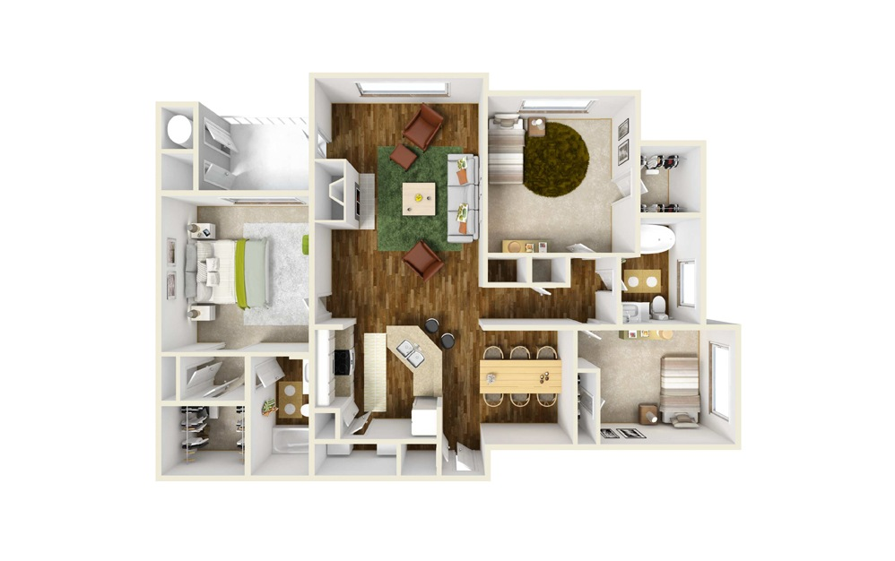 Peachtree 3 Bed 2 Bath Floorplan